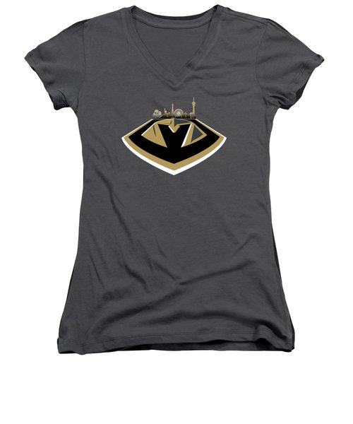 Vegas Golden Knights With Skyline Women's V-Neck (Athletic Fit)
