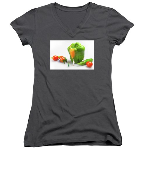 Women's V-Neck T-Shirt (Junior Cut) featuring the painting Vegetable Painting Little People On Food by Paul Ge