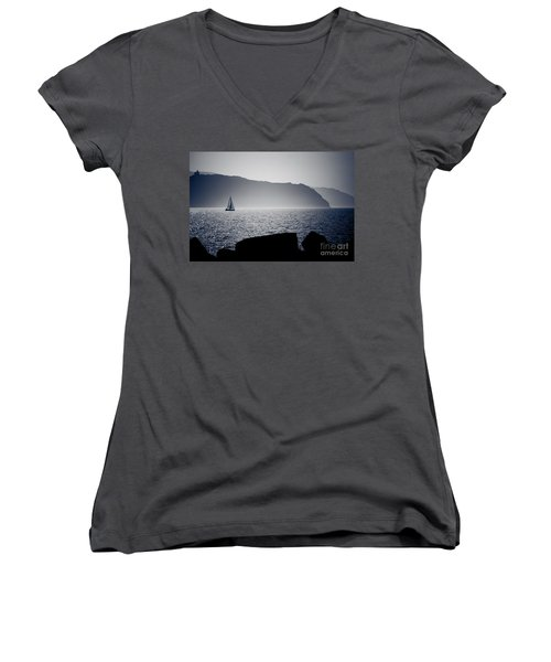 Women's V-Neck T-Shirt (Junior Cut) featuring the pyrography Vela by Bruno Spagnolo