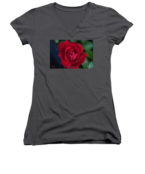 Velvet Red Women's V-Neck