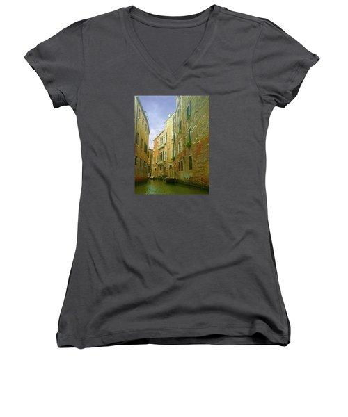 Women's V-Neck T-Shirt featuring the photograph Venetian Canyon by Anne Kotan