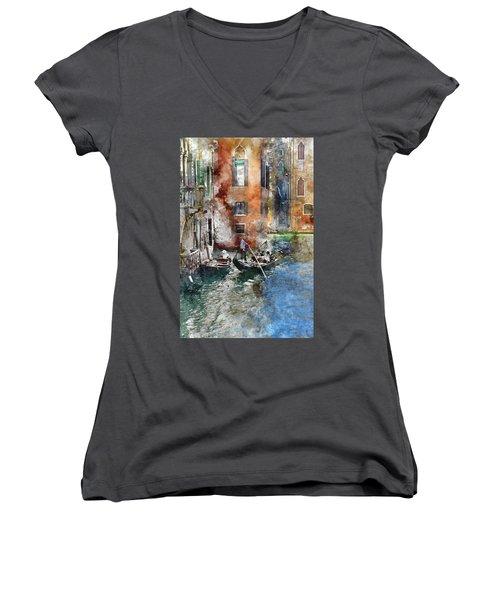 Venetian Gondolier In Venice Italy Women's V-Neck