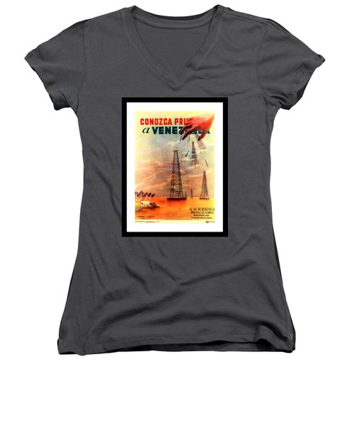 Venezuela Tourism Petroleum Art 1950s Women's V-Neck T-Shirt
