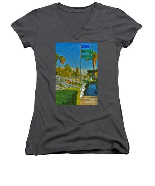 Women's V-Neck T-Shirt (Junior Cut) featuring the photograph Venice Canal Bridge Signs by David Zanzinger