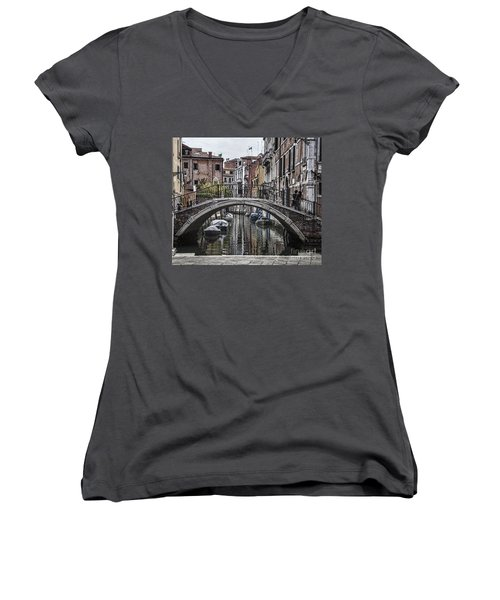 Women's V-Neck T-Shirt (Junior Cut) featuring the photograph Venice Crossing by Shirley Mangini