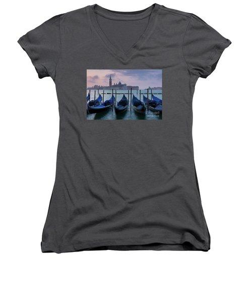 Women's V-Neck T-Shirt (Junior Cut) featuring the photograph Venice Dawn IIi by Brian Jannsen