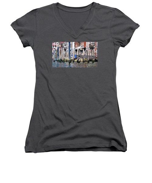 Women's V-Neck T-Shirt (Junior Cut) featuring the photograph Venice Grand Canal by Allen Beatty