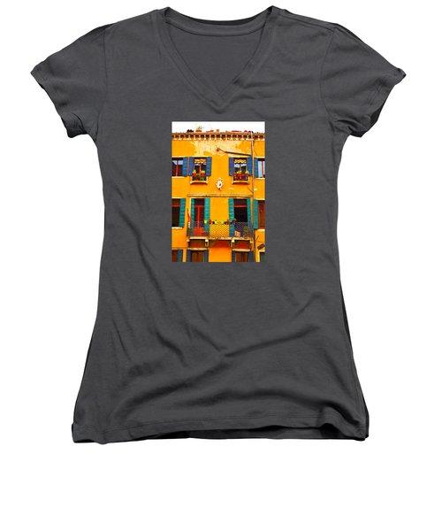 Venice Street Scene 1 Women's V-Neck T-Shirt
