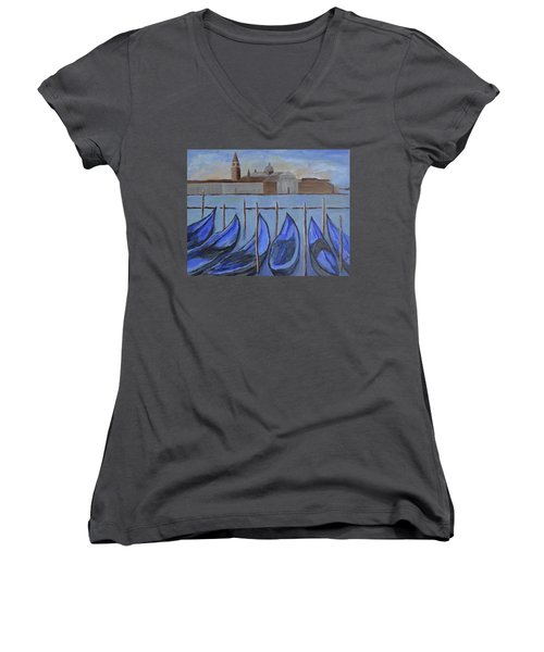 Women's V-Neck T-Shirt (Junior Cut) featuring the painting Venice by Victoria Lakes