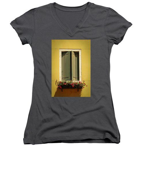 Women's V-Neck T-Shirt (Junior Cut) featuring the photograph Venice Window In Green by Kathleen Scanlan