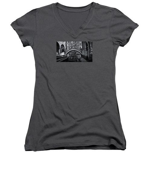 Women's V-Neck T-Shirt (Junior Cut) featuring the photograph Venice Yesteryear by Andrew Soundarajan