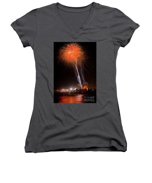 Ventura California Fair Fireworks Women's V-Neck T-Shirt (Junior Cut) by John A Rodriguez