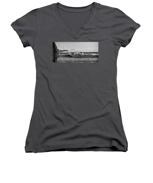 Ventura Pier El Nino 2016 Women's V-Neck T-Shirt (Junior Cut) by John A Rodriguez