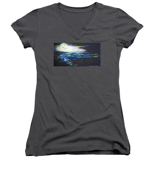 Ventura Seascape At Night Women's V-Neck T-Shirt (Junior Cut) by Sheridan Furrer