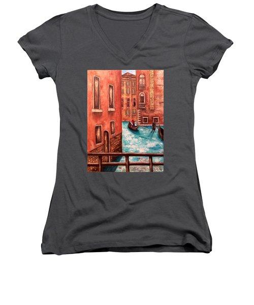 Venice Women's V-Neck T-Shirt (Junior Cut) by Annamarie Sidella-Felts