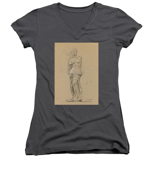 Venus De Milo Women's V-Neck T-Shirt (Junior Cut) by Juan Bosco