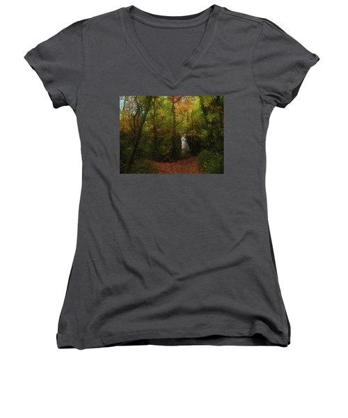 Venus Of The Woodland Women's V-Neck T-Shirt (Junior Cut) by Cedric Hampton