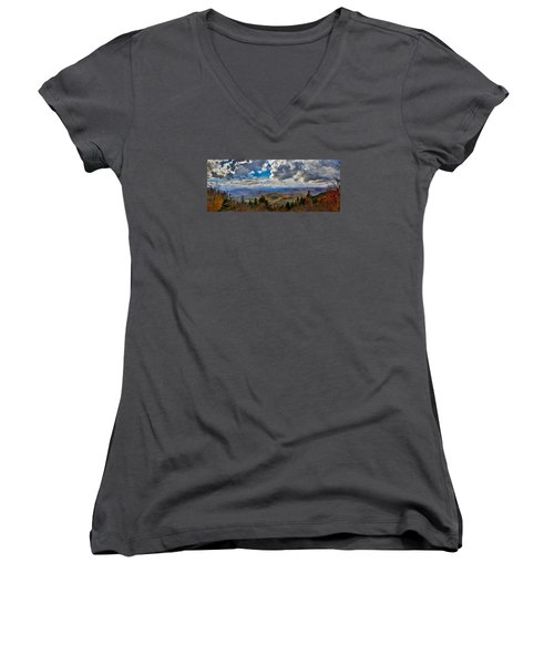 Vermont Autumn From Mt. Ascutney Women's V-Neck (Athletic Fit)