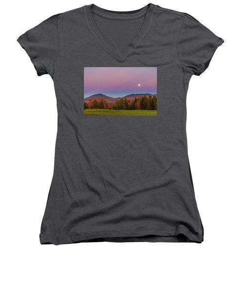 Vermont Fall, Full Moon And Belt Of Venus Women's V-Neck T-Shirt (Junior Cut) by Tim Kirchoff