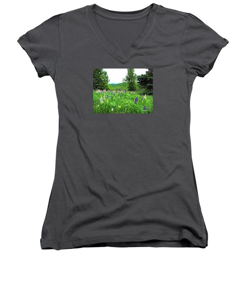 Women's V-Neck T-Shirt (Junior Cut) featuring the painting Vermont Lupine by Mim White