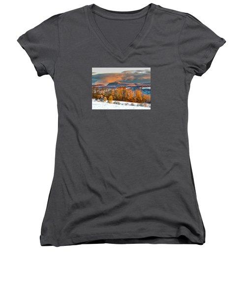 Vermont Snowliage Scene Women's V-Neck T-Shirt (Junior Cut) by Tim Kirchoff