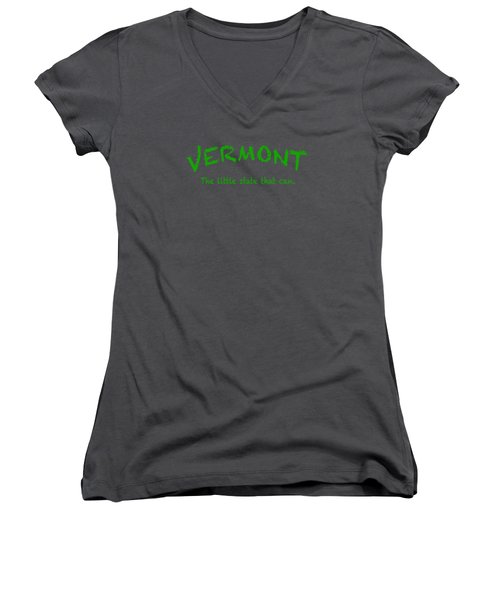 Vermont The Little State Women's V-Neck T-Shirt (Junior Cut) by George Robinson