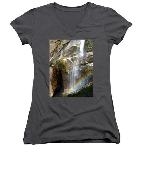 Vernal Falls Rainbow And Plants Women's V-Neck T-Shirt (Junior Cut) by Amelia Racca