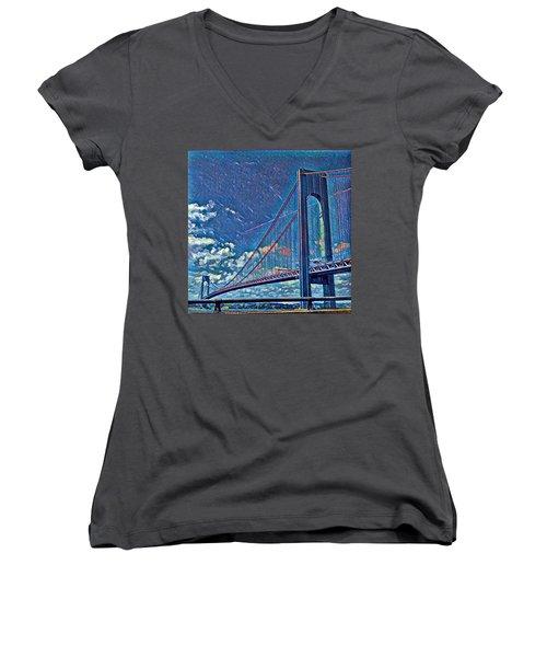 Verrazano Bridge Women's V-Neck T-Shirt (Junior Cut) by Rita Tortorelli