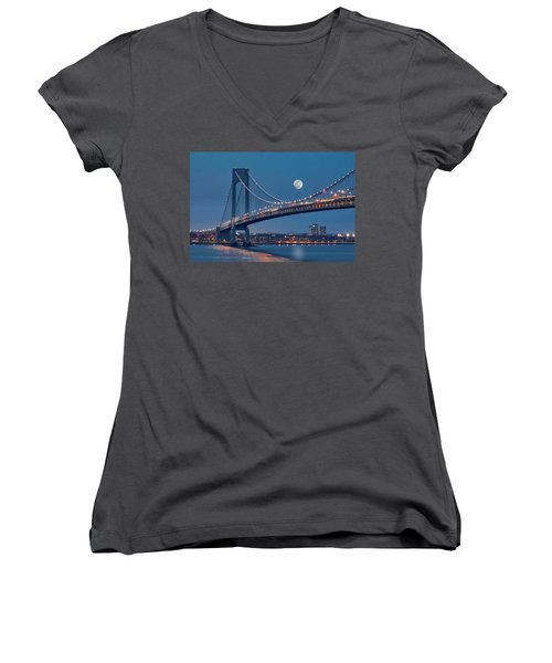 Women's V-Neck T-Shirt (Junior Cut) featuring the photograph Verrazano Narrows Bridge Moon by Susan Candelario
