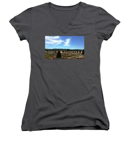 Versailles Palace Gardens Women's V-Neck T-Shirt (Junior Cut) by Therese Alcorn