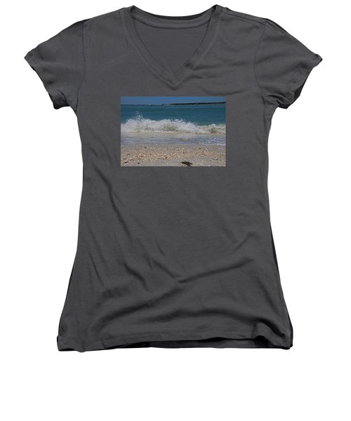 Women's V-Neck T-Shirt featuring the photograph Verses Out Of Rhythm by Michiale Schneider