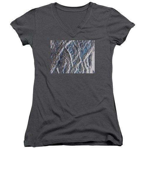 Women's V-Neck T-Shirt (Junior Cut) featuring the photograph Vertical Climb by Lenore Senior