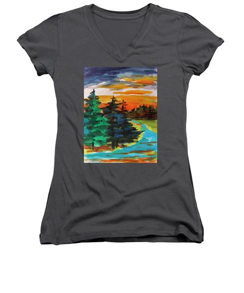 Women's V-Neck T-Shirt (Junior Cut) featuring the painting Very Quiet by John Williams