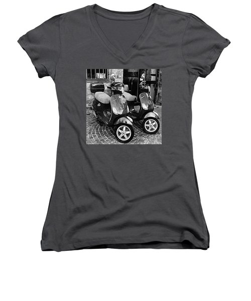 Vespa Twins Black And White Women's V-Neck (Athletic Fit)