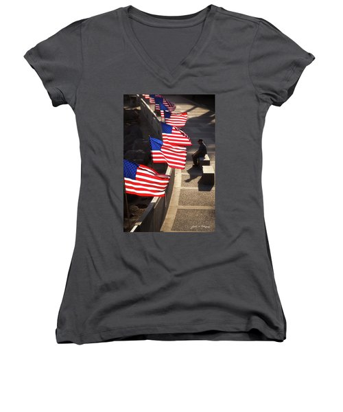 Veteran With Our Nations Flags Women's V-Neck T-Shirt
