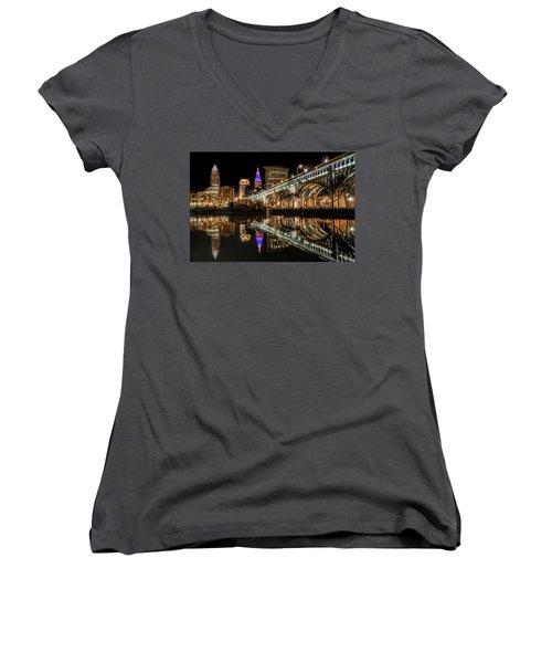 Women's V-Neck T-Shirt (Junior Cut) featuring the photograph Veterans Memorial Bridge by Brent Durken