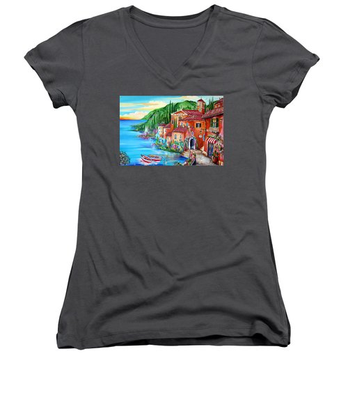 Via Positano By The Lake Women's V-Neck T-Shirt (Junior Cut) by Roberto Gagliardi