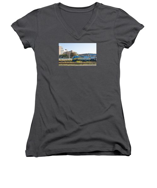 Via Rail Toronto Ontario Women's V-Neck T-Shirt (Junior Cut) by John Black