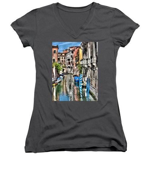 Women's V-Neck T-Shirt (Junior Cut) featuring the photograph Viale Di Venezia by Tom Cameron