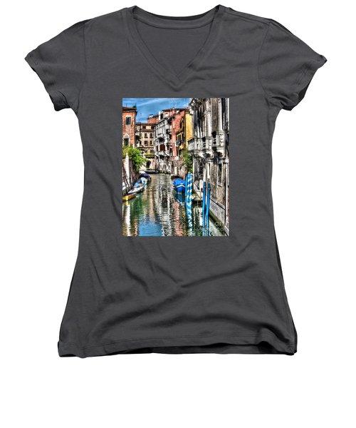 Viale Di Venezia Women's V-Neck T-Shirt (Junior Cut) by Tom Cameron
