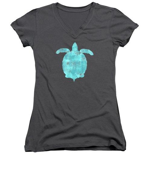 Vibrant Blue Sea Turtle Beach House Coastal Art Women's V-Neck T-Shirt