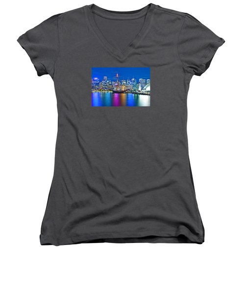 Vibrant Darling Harbour Women's V-Neck T-Shirt (Junior Cut) by Az Jackson