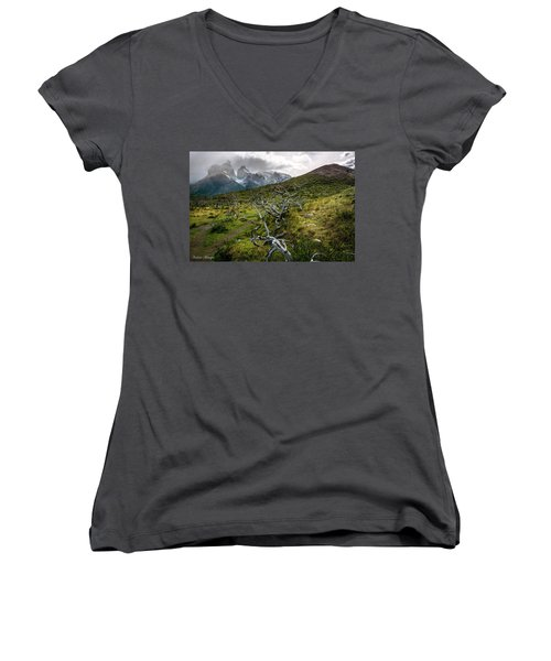 Women's V-Neck T-Shirt (Junior Cut) featuring the photograph Vibrant Desolation by Andrew Matwijec