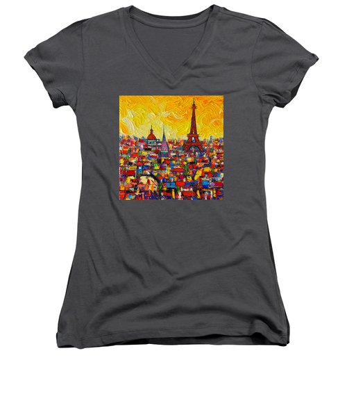 Vibrant Paris Abstract Cityscape Impasto Modern Impressionist Palette Knife Oil Ana Maria Edulescu Women's V-Neck