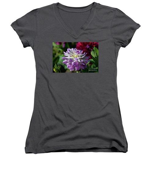Victoria Ann Dahlia Women's V-Neck T-Shirt (Junior Cut) by Glenn Franco Simmons