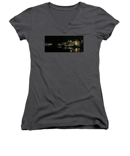 Victoria Harbor Night View Women's V-Neck T-Shirt