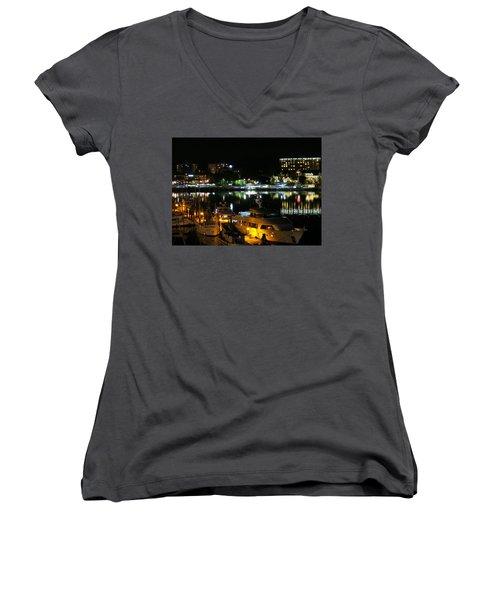 Victoria Inner Harbor At Night Women's V-Neck T-Shirt (Junior Cut) by Betty Buller Whitehead