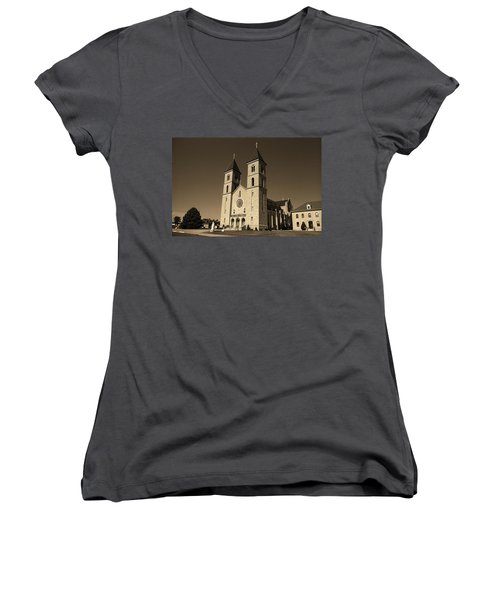 Women's V-Neck T-Shirt (Junior Cut) featuring the photograph Victoria, Kansas - Cathedral Of The Plains Sepia 6 by Frank Romeo