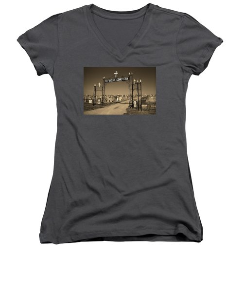 Women's V-Neck T-Shirt (Junior Cut) featuring the photograph Victoria, Kansas - St. Fidelis Cemetery Sepia by Frank Romeo