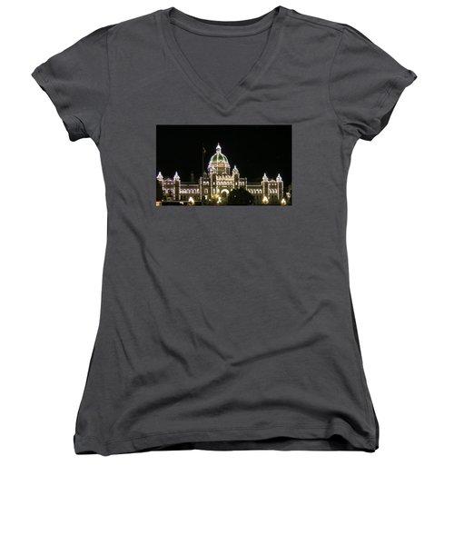 Victoria Legislative Buildings Women's V-Neck T-Shirt (Junior Cut) by Betty Buller Whitehead
